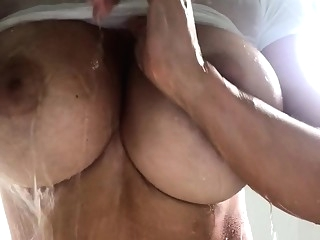 amateur Solo in the shower big boobs