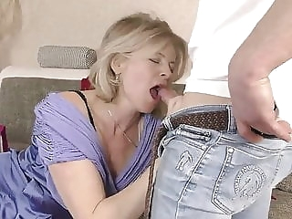 blonde Lustful deaf-mute Russian grandma Diana, Hardcore blowjob
