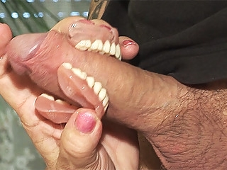 deepthroat toothless blowbang with 74 years old mom granny