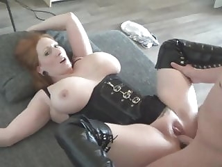 amateur big boobed redhaired milf fucked in high leather boots blowjob