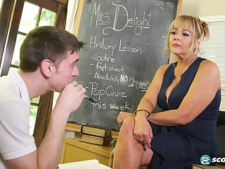 big tits Mature teacher fucks student blonde
