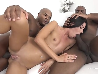 anal Eveline Dellai is having tons of fun with a black guy and his best friend brunette