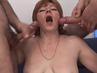 anal Five dudes and a redhead get it on big ass