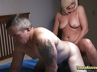 blonde Horny Housewives Can Help Out Their Bi-Curious Husbands close-up