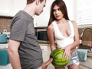 blowjob StepSister Caught Brother Masturbating With A Watermelon teen